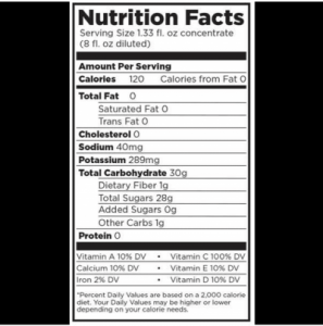 JUICE100 Nutrition Facts - Allen Associates